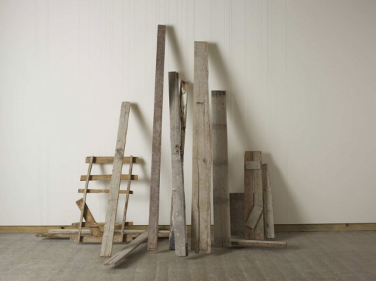 Cornelia Parker - Unsettled 2012 - 2013 Wood found on the streets of Jerusalem, wire Dimensions variable