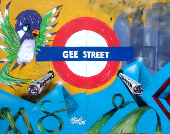 An unofficial addition to the creative vibe of the event - just down the road, local street artist Gee injects some life into the drab hoardings of the derelict shops waiting for development